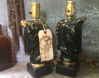 "Horse Lamps / Art Pottery Lamp / Art Glazed Pottery Lamp / Cottage Bedroom Pair / 10"" X 6"""
