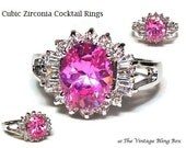 14K GF White Gold CZ Pink Sapphire Cocktail Ring with Prong Set Baguette & Round CZ Accents - Vintage 70s Cubic Zirconia Costume Jewelry