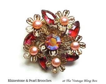 50s Clustered Pink Pearl & Rhinestone Flower Brooch with Prong Set AB Crystals in Gold Filigree Floral Motif - Vintage 50's Costume Jewelry