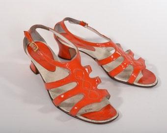 Vintage 1960s Orange Sandal Shoes - Patent Leather - Summer Fashions Size 6.5