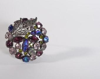 Vintage 1960s Purple Rhinestone Brooch - Filigree Leaves Pin - Mad Men Fashions