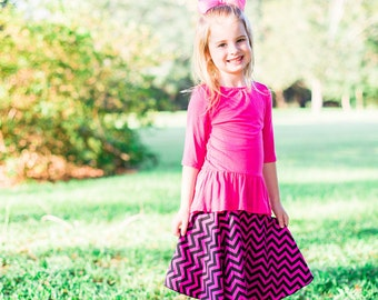 Girls Classic Circle Skirt / Pink and Black Chevron Circle Skirt- 4T
