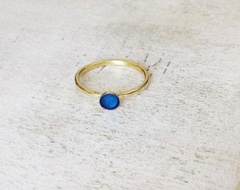 Teal blue enamel ring, hammered band ring, stackable ring, gold brass stackable ring, blue enamel ring