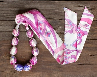Pink and white Silk fabric bead necklace