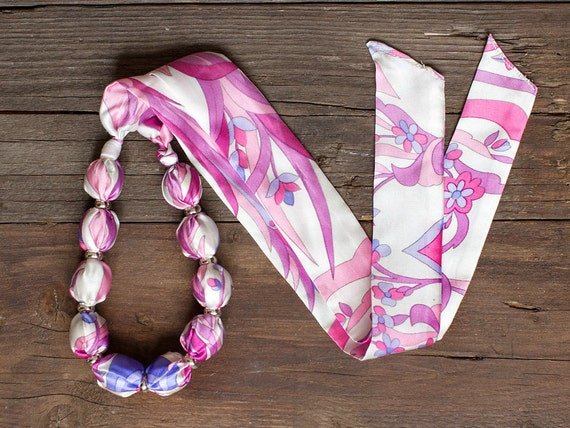 Pink  textile necklace, fabric covered necklace, fabric beaded necklace, textile jewelry, Statement Necklace, Unique Gift for Her