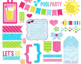 Made 2 Match Girls Pool Party Accents, Summer Swimming Clipart, Cute Digital Summer Graphics - INSTANT DOWNLOAD