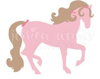 Pretty Pink Pony Cute Digital Clipart, Girls Pink Horse Clip art, Horse Graphics, Pony Illustration, #1591
