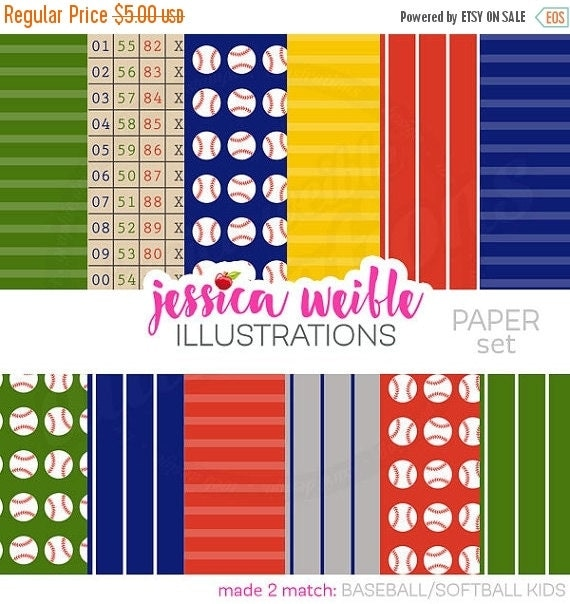 SALE Baseball Softball Cute Digital Papers Backgrounds for Card Design, Scrapbooking, and Web Design