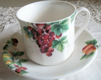 Royal Doulton Vintage Grape TC1193 Replacement Fine China Cup and Saucer 1994 Collectible Microwave, Oven and Freezer Safe. Chip Resistant