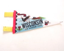 Wisconsin Souvenir Pennant, Vintage Miniature Felt Flag from The Badger State