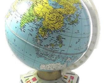 "Vintage Metal Globe, J. Chein & Company 9"" Printed Tin Globe"
