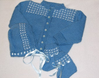 Baby Sweater Bonnet and Booties in Shades of Blue for Baby 6 to 12 Months