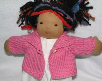 Doll Sweater for 13 inch Doll in Medium Pink Wool RTG