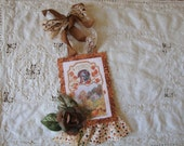 Vintage style Thanksgiving ornaments Glittered decor post card tag turkey ornaments paper fall home decor thanksgiving hostess gifts