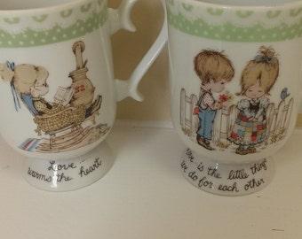Vintage Set of Mugs Peticoats and Pantaloons 1974 Holly Hobbie