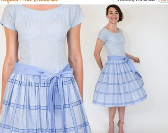 SummerS SALE 50s Gingham Dress |  Blue Plaid Cotton Dress | Pleated Summer Dress, Extra Small