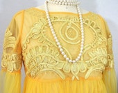 Vintage Yellow Fancy Top see through sheer Blouse Formal Tunic L/10 Evening