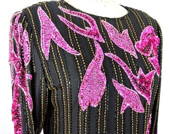 Vintage Black/Pink Floral Beaded Formal Top Sequined SILK Blouse Fancy M/8-10