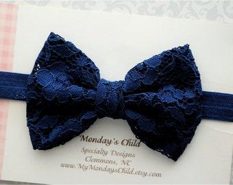 Navy Blue Lace Bow Headband, Navy Blue Bow Headband, Navy Blue Bow, Lace Bow, Baby Headband, Toddler Headband, Toddler Bow, Girls Bow