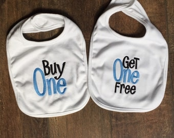 "IN STOCK Boutique Embroidered Twin Baby boy Bib Gift Set, ""Buy one"" ""get one free"" on white baby bibs - Ready to ship"