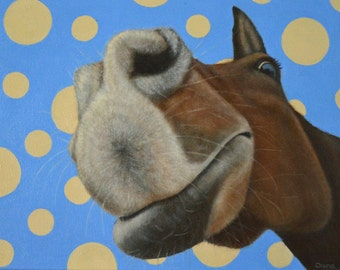 Funny Horse Painting with Polka Dots - Original Horse Painting - 10% Benefits Horse Rescue