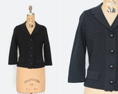 1950s sweater - vintage 50s black knit sweater - rhinestone buttons - Size Medium