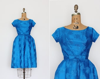 1950s dress - vintage 50s party dress - blue brocade - full skirt - evening dress - cocktail dress - extra small
