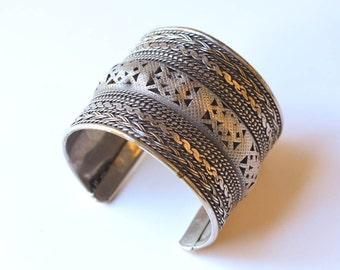 Silver Cuff Bracelet Vintage Silver Tone Bracelet Textural Jewelry Statement Bracelet