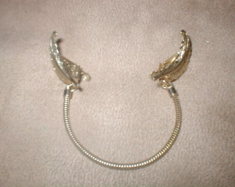 Vintage Gold Tone feather quill Sweater Guard Clip Chain