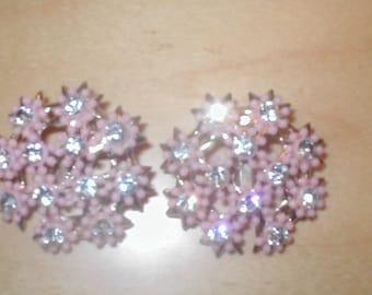Vintage 1950's Pink Floral Rhinestone Earrings