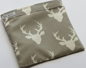 Reusable Sandwich And Or Snack Bag Grey Deer Antlers Eco Friendly Sandwich Snack Bag