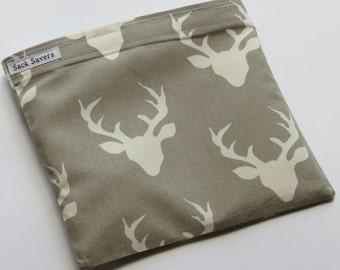 Reusable Sandwich And Or Snack Bag Grey Deer Antlers Eco Friendly Sandwich Snack Bag