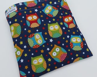 Reusable Eco Friendly Sandwich or Snack Bag Bright Owls