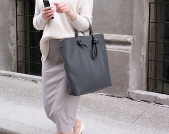 Women Tote Bag- Grey Leather Tote Bag- Shoulder Bag- Everyday bag- Carry All- Handmade- Classic- Minimalist- Casual- Genuine leather