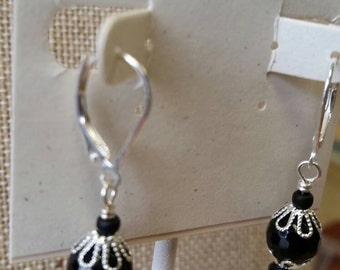 Black Onyx and Silver Filige Leverback Earrings