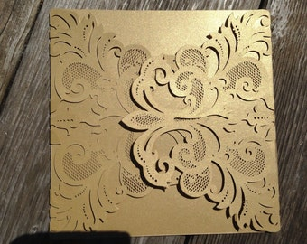 Set of 50, 75, 100 - Laser Cut FOLDER ONLY -  ALEXANDRA Style Elegant Laser Cut Folder in shimmery gold, cream, navy