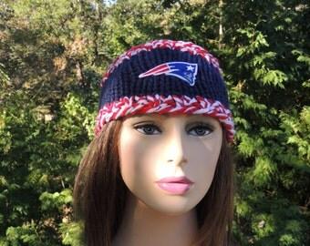 New England Patriots Headband Earwarmers, Hand Knit Headband, Hand Knitted Headband, Patriots Headband