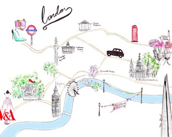 Watercolour illustration Titled London Guide