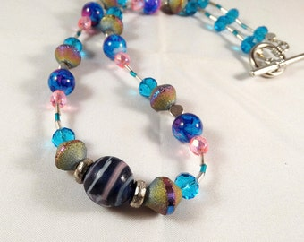 Blue and Pink Necklace with Lampwork Focal Bead