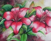 Red Lilies in Watercolor