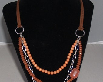 Salmon Triple Strand Glass Bead, Composite and Silver Tone Metal Chain Necklace