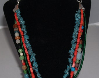 Triple Strand Glass Bead, Turquoise Composite and Silver Tone Metal Findings Necklace