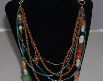Six Strand Glass and Wood Bead with Silver Tone Metal Findings Necklace