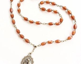 Vintage St. Anthony chaplet  Rosary orange beads plastic oval beads C27