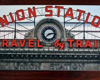 Union Station Denver Colorado Retro Neon Sign Canvas Gallery Wrap Print Fine Art Photography