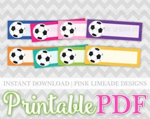 Colorful Soccer Blanks - Quarter Box Printable Planner Stickers PDF - full sheet + half sheet - DIY Instant Download - ECLP 052