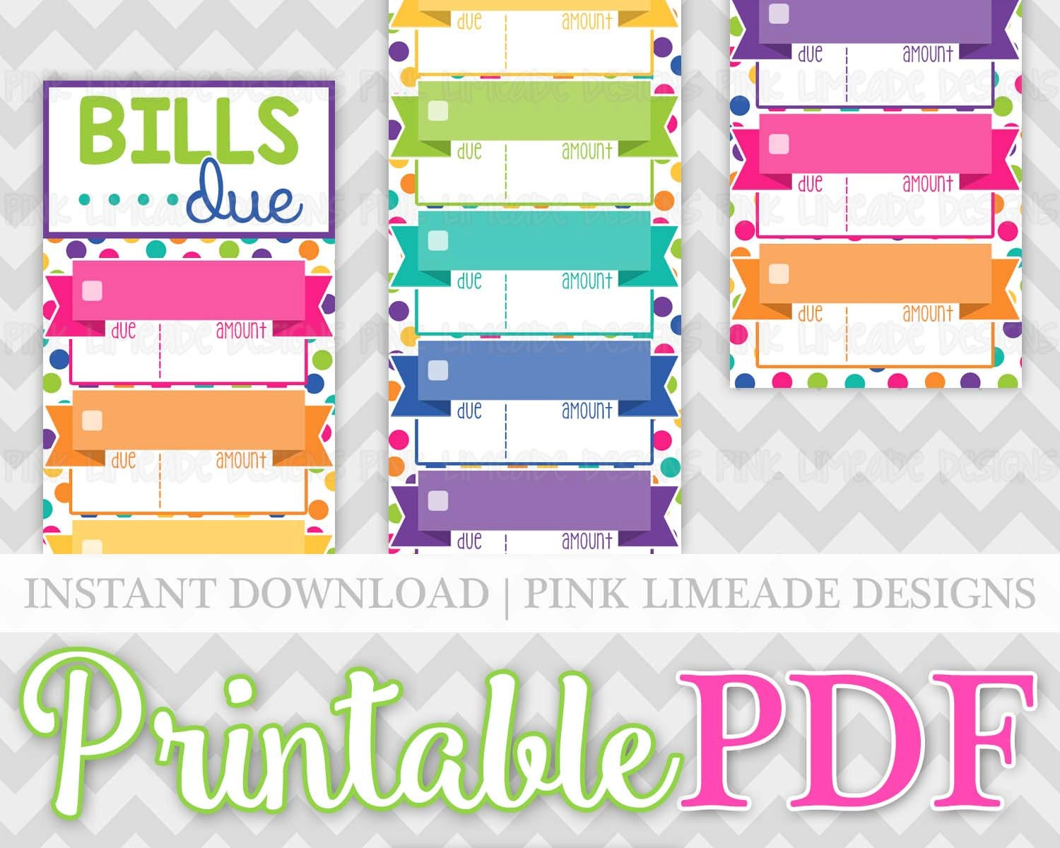 Create Your Own Personal Planner Colorful Monthly Bills Due Labels Bill Tracker Budget