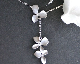 Orchid Necklace, Orchid lariate Necklace, Silver orchid Necklace, Orchid Jewelry, Wedding Necklace, Flower Necklace, Orchid Wedding