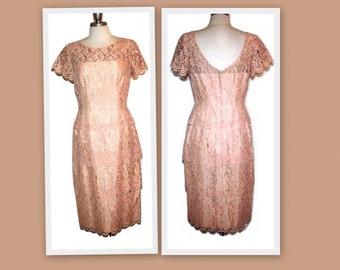 1950s Pink/Peach Lace Wiggle Dress by Original Lilli Diamond of California