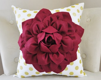Gold Pillow White Gold Polka Dot with Ruby Red Dahlia Flower, Decorative Christmas Throw Pillows, Metallic Gold Pillow, Home Decor Pillows
